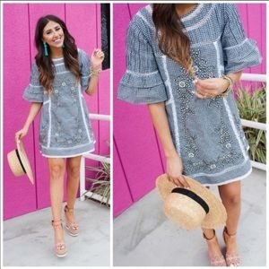 Free People Sunny Day Embroidered Gingham Dress S